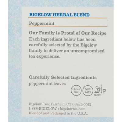 Bigelow Herbal Tea, Peppermint, Caffeine Free, Tea Bags