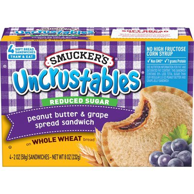 Smucker's Reduced Sugar Uncrustables Spread Sandwiches Peanut Butter & Grape