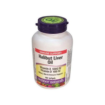 Webber Naturals Vitamin A 5000 IU & Vitamin D 400 IU Halibut Liver Oil Softgels for Vision, Skin & Immune Support