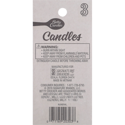 Betty Crocker Birthday Candle, Numeral 3, 3 Inch