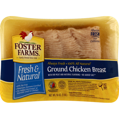 Foster Farms Chicken Breast, Ground, Cage Free, Fresh & Natural