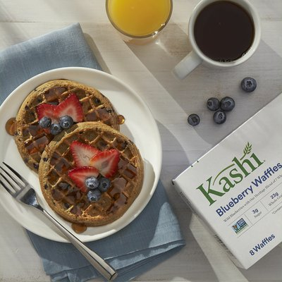 Kashi Frozen Waffles, Vegan, Frozen Breakfast For Kids, Blueberry