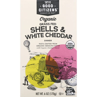 Good Citizens Shells & White Cheddar Dinner, Organic, Grass-Fed
