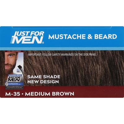 Just For Men Easy Brush-In Color, Mustache & Beard Color, Medium Brown M-35