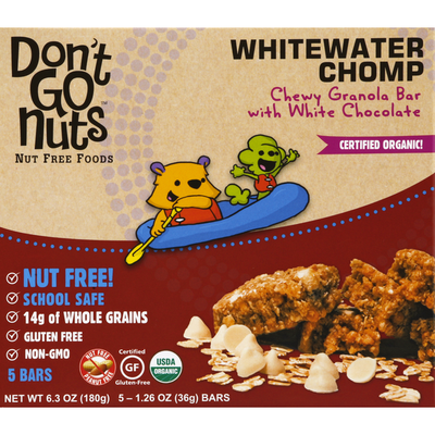 Don't Go Nuts Granola Bar, with White Chocolate, Whitewater Chomp, Chewy