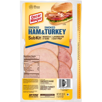 Oscar Mayer Sub Kit with Extra Lean Smoked Ham & Water Product & Extra Lean Smoked Turkey Breast Sliced Lunch Meat
