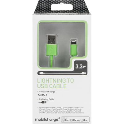 MobileCharge Cable, Lightning to USB, Green, 3.3 Feet