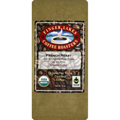 Finger Lakes Coffee Roasters Coffee, Organic/Fair Trade Certified, Ground, French Roast