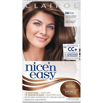 Clairol Nice 'n Easy, 5G/117 Natural Medium Golden Brown, Permanent Hair Color, 1 Kit Female Hair Color