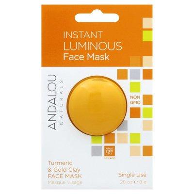 Andalou Naturals Face Mask, Instant Luminous, Turmeric & Gold Clay