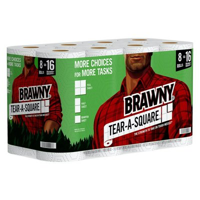 Brawny Tear-A-Square Paper Towels, 8 Double Rolls, 2-Ply