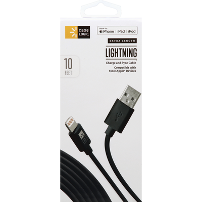 Case Logic Charge and Sync Cable, Lightning, Extra Length, 10 Feet