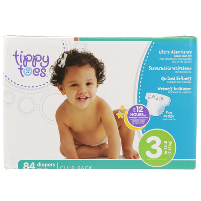 Tippy Toes By TopCare Ultra Club Pack Diapers Size 3