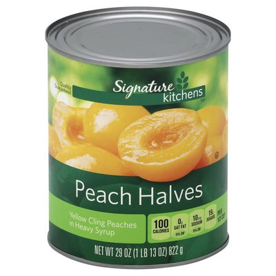 Signature Kitchens Peach Halves, Yellow Cling, in Heavy Syrup