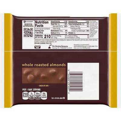 Hershey's Milk Chocolate, with Almonds, Full Size