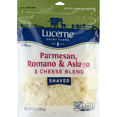 Lucerne Dairy farms Cheese, Parmesan/Romano/Asiago, Shaved