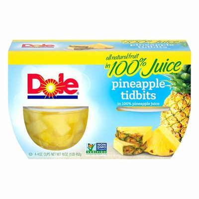 Dole Pineapple Tidbits in 100% Pineapple Juice Fruit Cups