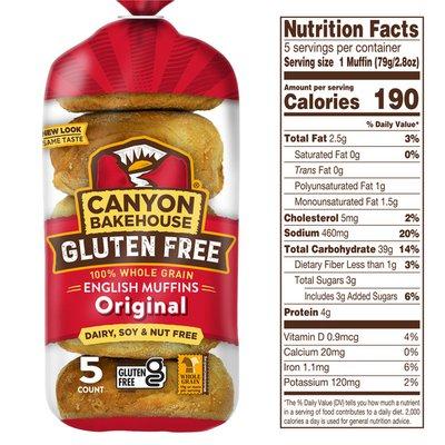 Canyon Bakehouse Gluten Free Original 100% Whole Grain English Muffins