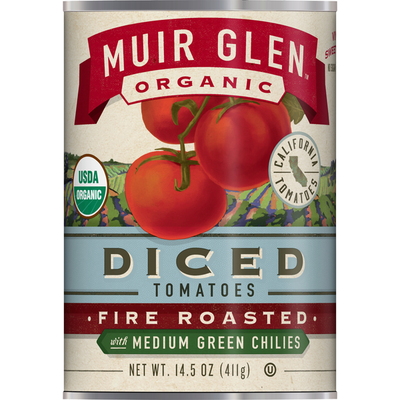 Muir Glen Organic Diced Fire Roasted Tomatoes With Medium Green Chilies