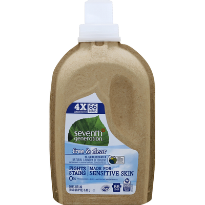 Seventh Generation Concentrated Liquid Laundry Detergent Fragrance Free, 66 Loads