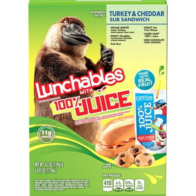 Lunchables Lunch Combinations with 100% Juice Turkey & Cheddar Sub Sandwich