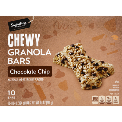 Signature Select Granola Bars, Chewy, Chocolate Dip
