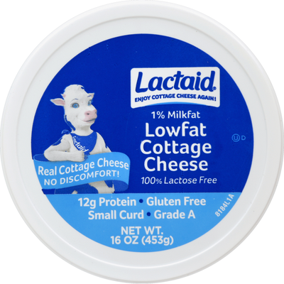 Lactaid Cottage Cheese, Small Curd, 1% Milkfat, Lactose Free, Lowfat