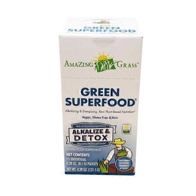 Amazing Grass Green Superfood ALKALIZE & DETOX plus cleansing herbs & spices for pH balance & detox Whole Food Supplement PACKETS, Simply Pure