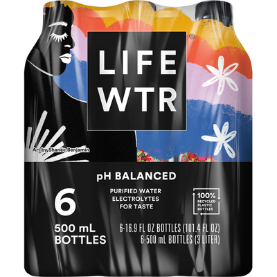 Life Wtr Purified Water, 6 Pack