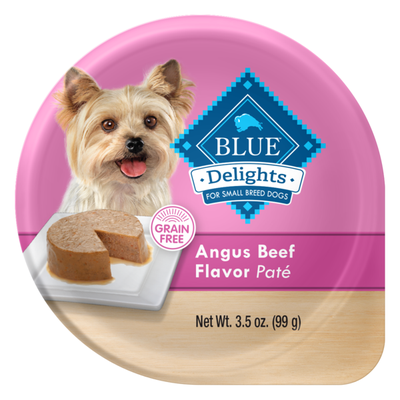 Blue Buffalo Delights Natural Adult Small Breed Wet Dog Food Cup, Angus Beef Flavor in Savory Juice