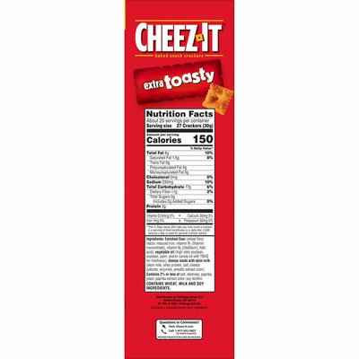 Cheez-It Cheese Crackers, Baked Snack Crackers, Extra Toasty