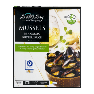 Next Wave Seafood Whole Shell Mussels in a Garlic Butter Sauce, Cooked & Frozen