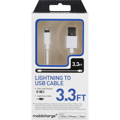 MobileCharge Cable, Lightning to USB, White, 3.3 Feet
