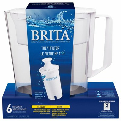 Brita Soho Pitcher + Filter Water Filtration System, White, 5 Cup
