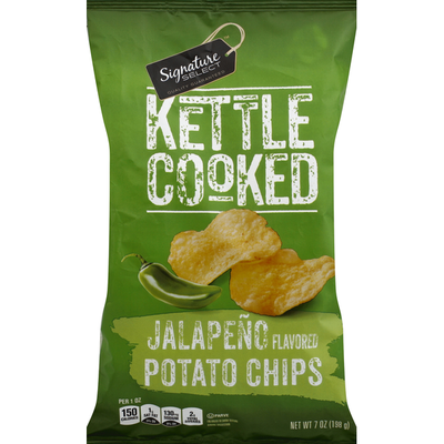 Signature Select Potato Chips, Kettle Cooked, Jalapeno Flavored