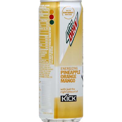 Mtn Dew Kickstart Hydrating Boost Pineapple Orange Mango W/Coconut Water Sparkling Juice Beverage Blend