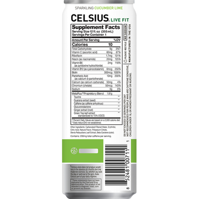 CELSIUS Sparkling Water, Cucumber Lime