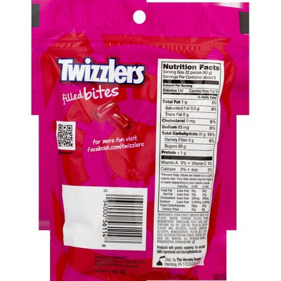 Twizzlers Candy, Strawberry, Filled Bites