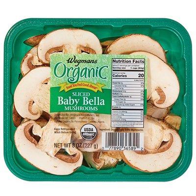 Wegmans Organic Mushrooms, Baby Bella, Sliced
