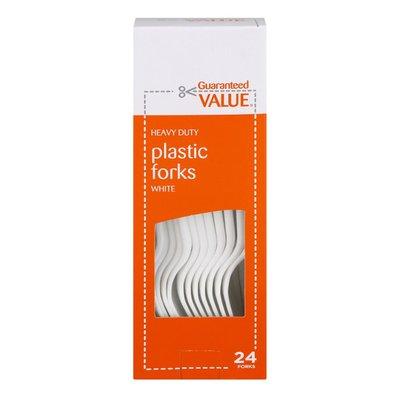 Guaranteed Value Heavy Duty Plastic Forks White - 24 CT