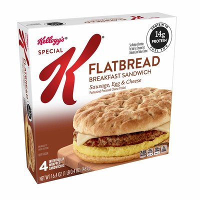 Kellogg's Special K Flatbread Breakfast Sandwiches, Excellent Source of Protein, Sausage, Egg, and Cheese