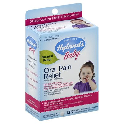 Hyland's Baby Oral Pain Relief Tablets with Chamomilla, Soothing Natural Relief for Teething Symptoms