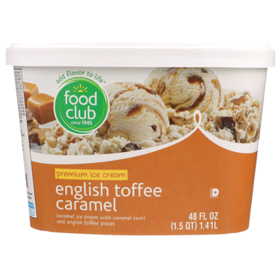 Food Club English Toffee Caramel Premium Ice Cream With Caramel Swirl And English Toffee Pieces