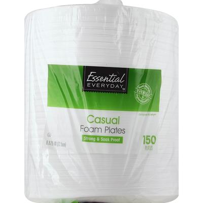 Essential Everyday Foam Plates, Casual, 8.875 Inch