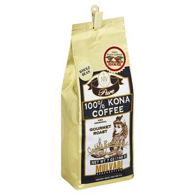 Mulvadi Coffee, Whole Bean, Medium-Dark Roast, 100% Kona