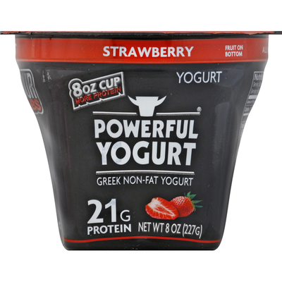 Powerful Nutrition Yogurt, Greek, Non-Fat, Fruit on Bottom, Strawberry