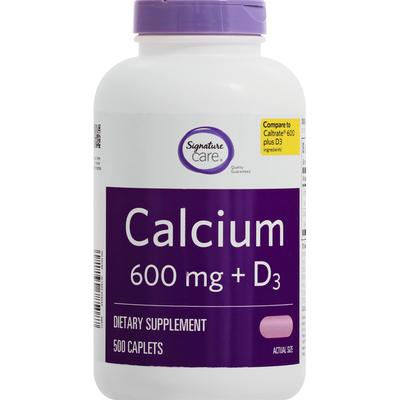 Signature Home Calcium + D3, 600 mg, Caplets