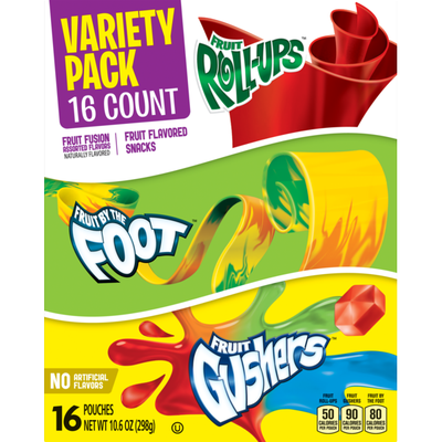 Betty Crocker Fruit Snacks, Fruit Roll-Ups, Fruit By The Foot and Fruit Gushers, Variety Snack Pack