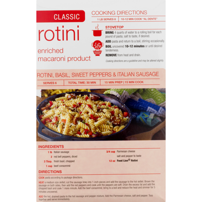 Food Lion Pasta, Rotini, Classic, Box