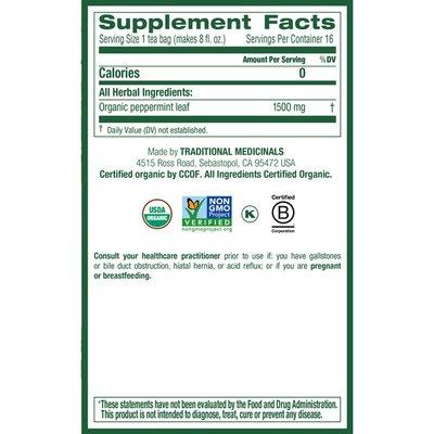 Traditional Medicinals Organic Peppermint Caffeine Free Herbal Teas